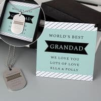 Personalised Box With Dog Tag Necklace - ideal gift for Dad, Daddy, Uncle, Brother, Boyfriend, Husband, Him for any occasion